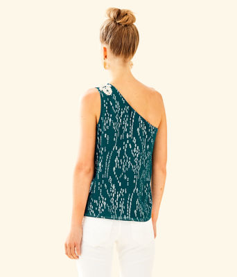 Sienne One Shoulder Silk Top, Inky Tidal Fish Clip Chiffon, large 1