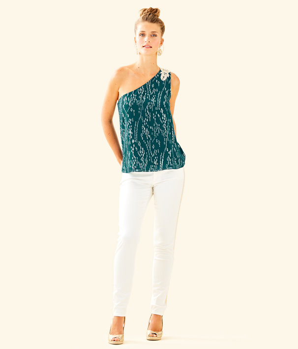 Sienne One Shoulder Silk Top, Inky Tidal Fish Clip Chiffon, large