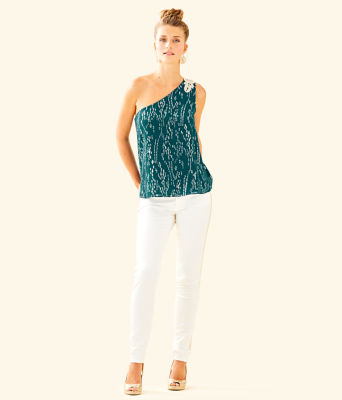 Sienne One Shoulder Silk Top, Inky Tidal Fish Clip Chiffon, large 2