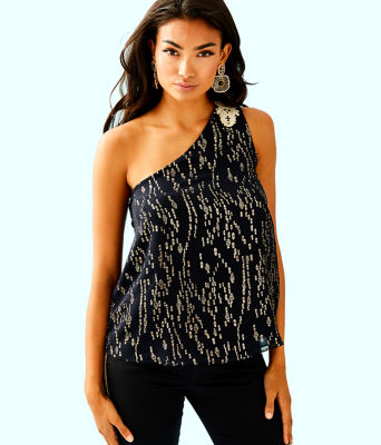 Sienne One Shoulder Silk Top, Onyx Fish Clip Chiffon, large 0