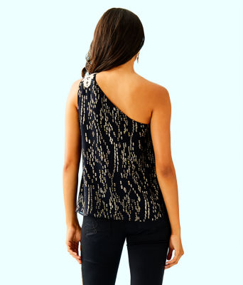 Sienne One Shoulder Silk Top, Onyx Fish Clip Chiffon, large 1