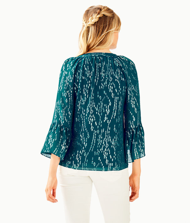 Matilda Silk Top, Inky Tidal Fish Clip Chiffon, large