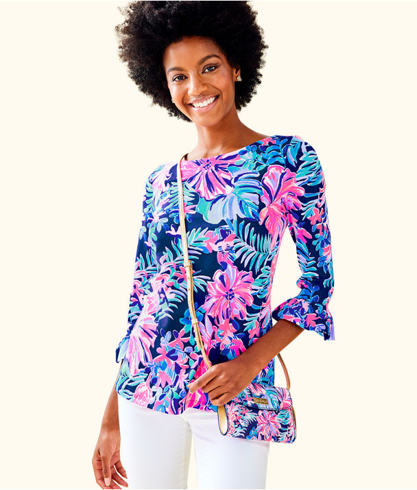 Waverly Ruffle Top, Multi Garden Get Away, large