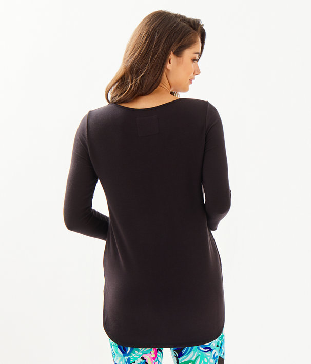 Luxletic Kerah Long Sleeve Lounge Tee, Onyx, large
