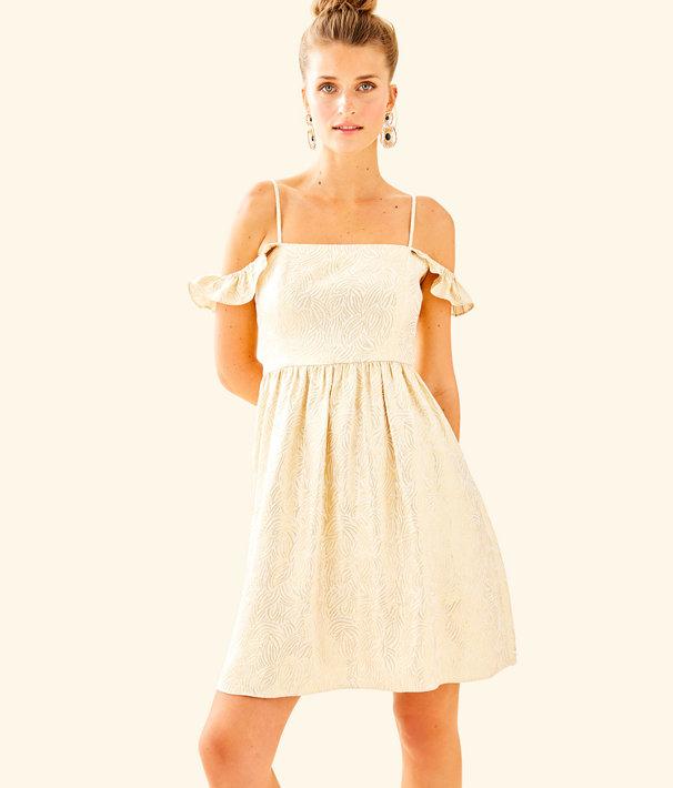 Kariana Silk Off The Shoulder Dress, Gold Metallic Soft Metallic Leaf Jacquard, large