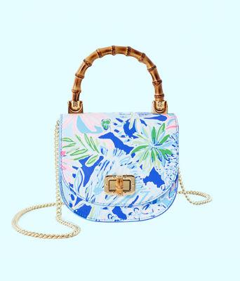Leilani Bamboo Top Handle Mini Bag, Coastal Blue Lion Around, large