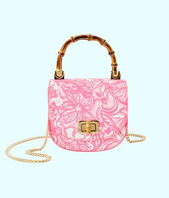 Leilani Bamboo Top Handle Mini Bag, Pink Tropics Tint Bunny Hop, large