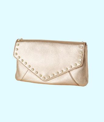 Costa Brava Leather Clutch, Gold Metallic, large 0
