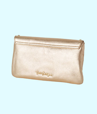 Costa Brava Leather Clutch, Gold Metallic, large