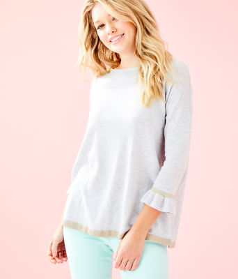 Charla Sweater, Heathered Seaside Grey, large