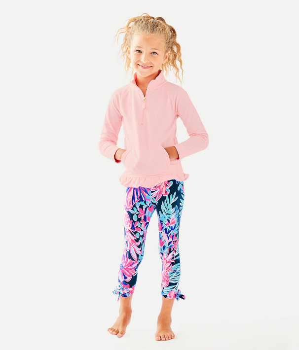 UPF 50+ Girls Mini Killian Popover, Heathered Melon Fig Tint, large
