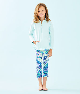 UPF 50+ Girls Mini Killian Popover, Whisper Blue, large