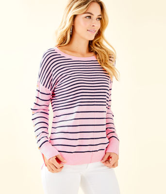 Melenie Sweater, Heathered Pink Tropics Tint Amore Stripe, large