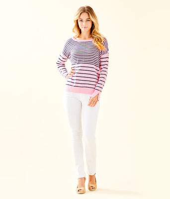 Melenie Sweater, Heathered Pink Tropics Tint Amore Stripe, large 2