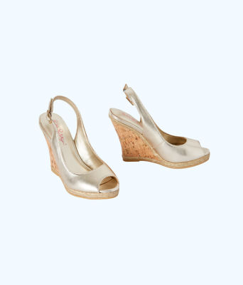Krisie Wedge, Gold Metallic, large
