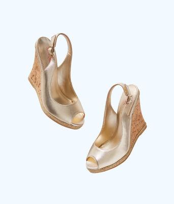 Krisie Wedge, Gold Metallic, large 1