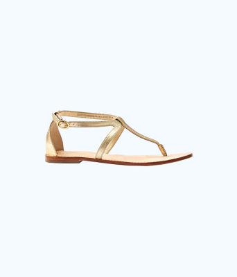 Heather T-Strap Sandal, Gold Metallic, large