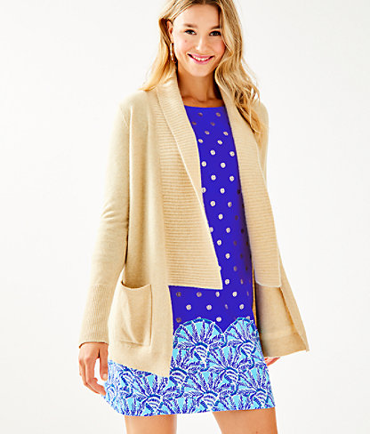 Norwood Cashmere Cardigan, Heathered Sand Bar Metallic, large