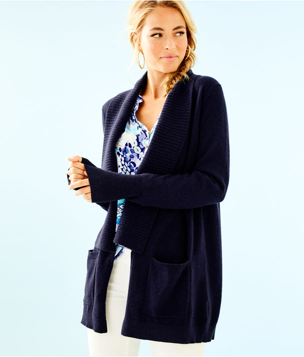 Norwood Cashmere Cardigan, True Navy, large