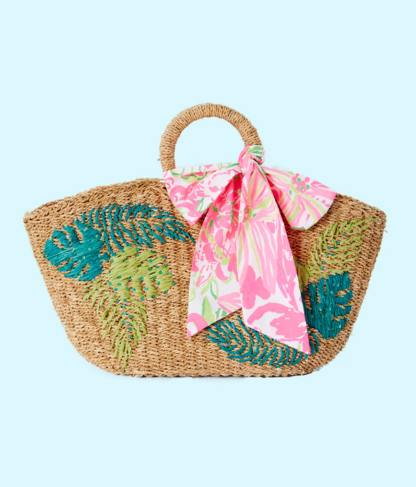 Flora Straw Tote, Natural Flora Straw Tote, large