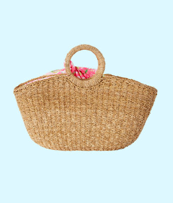 Flora Straw Tote, Natural Flora Straw Tote, large 1