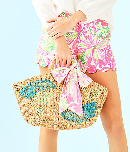 Flora Straw Tote, Natural Flora Straw Tote, large 3