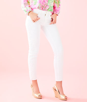 """29"""" South Ocean Skinny Crop with Lace, Resort White, large 0"""