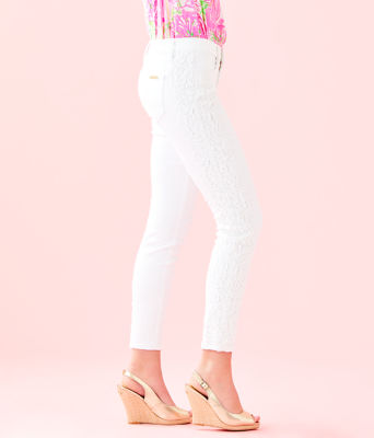 """29"""" South Ocean Skinny Crop with Lace, Resort White, large"""