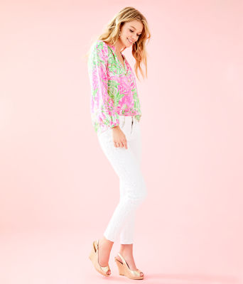 """29"""" South Ocean Skinny Crop with Lace, Resort White, large 3"""