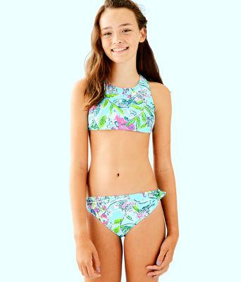 UPF 50+ Girls Maisie Bikini, Bali Blue Sway This Way Swim, large 0