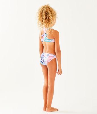 UPF 50+ Girls Maisie Bikini, Crew Blue Tint Kaleidoscope Coral, large 1