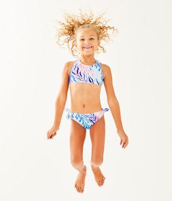 UPF 50+ Girls Maisie Bikini, Crew Blue Tint Kaleidoscope Coral, large 2