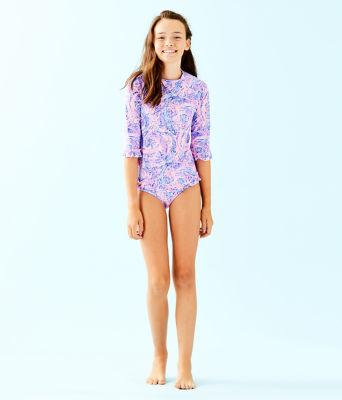 UPF 50+ Girls Clara Rashguard Swim Set, Coastal Blue Maybe Gator, large