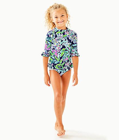UPF 50+ Girls Clara Rashguard Set, Deep Sea Navy Sway This Way Swim, large 0