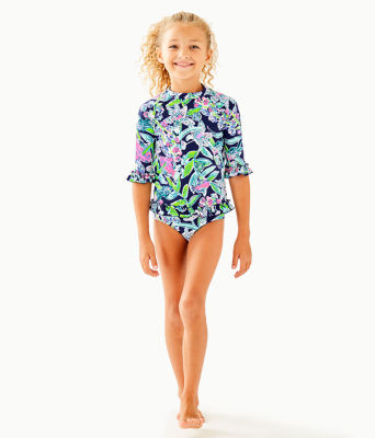 UPF 50+ Girls Clara Rashguard Swim Set, Deep Sea Navy Sway This Way Swim, large 2