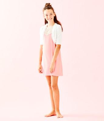 Girls Alexandra Cardigan, Resort White, large 2