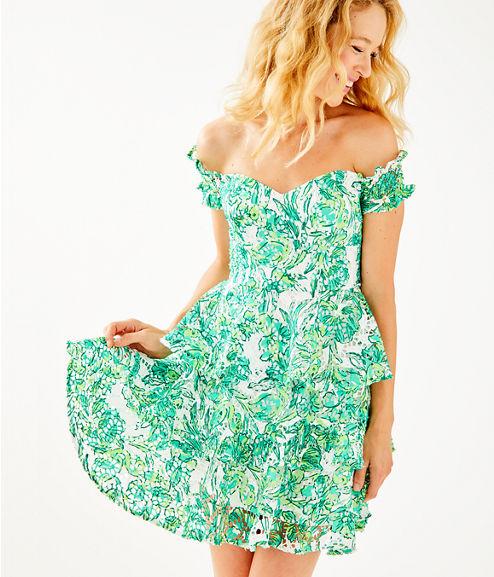 Cicely Off The Shoulder Dress, Resort White Flamingle, large