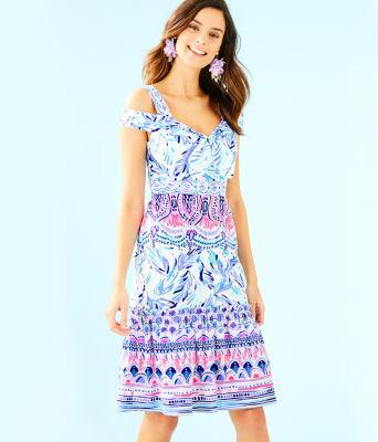 Iva Midi Dress, Resort White Flock Together Engineered Dress, large 0