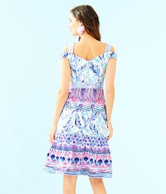 Iva Midi Dress, Resort White Flock Together Engineered Dress, large