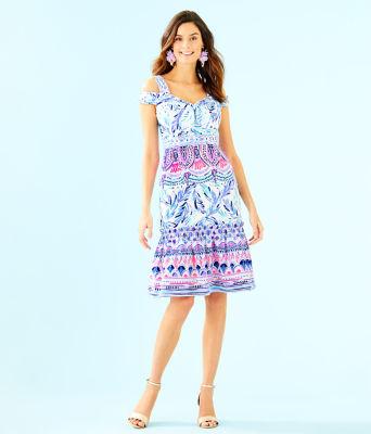 Iva Midi Dress, Resort White Flock Together Engineered Dress, large 3