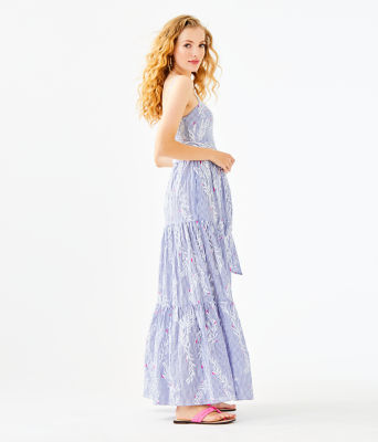 Aviana Maxi Dress, Coastal Blue Open Coral Pigment Print, large
