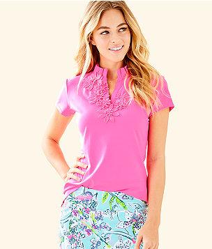 UPF 50+ Luxletic Meryl Nylon Pique Frida Short Sleeve Golf Polo, Pink Tropics, large
