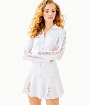 Luxletic Conelly Tennis Jacket, Resort White Nylon Tennis Monkey Knit Jacquard, large