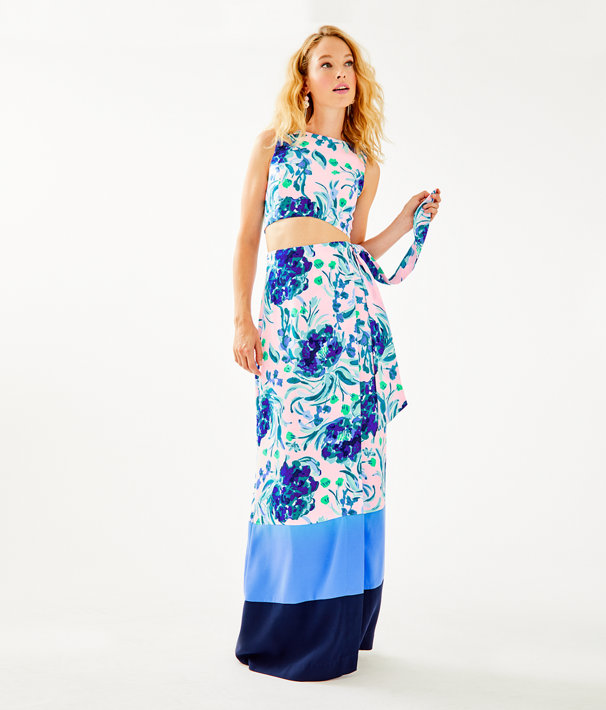 Jemma Crop Top And Skirt Set, Pink Tropics Tint Sweet Pea, large