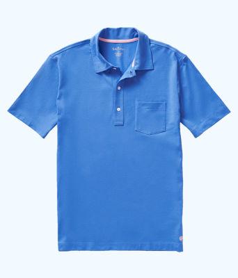 Mens Polo Shirt, Coastal Blue, large 0