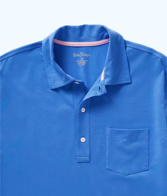 Mens Polo Shirt, Coastal Blue, large 2