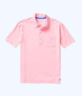 Mens Polo Shirt, Pink Tropics Tint, large