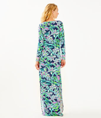 UPF 50+ Faye Maxi Dress, Bright Navy Sway This Way Engineered Maxi, large 1