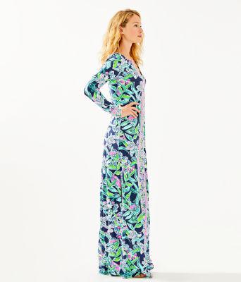 UPF 50+ Faye Maxi Dress, Bright Navy Sway This Way Engineered Maxi, large 2