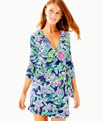 Jessalynne Wrap Romper, Bright Navy Sway This Way, large 0